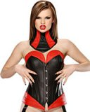 Black and Red Leather Corset with Suspenders