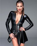Powerwetlook Mini Dress with Corset Style Waist
