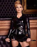 Eva Glued Black Latex Peplum Jacket