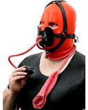 Rubber Face Harness with Inflatable Gag and Latex Piss Sheath