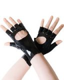 Fingerless Short Black Latex Gloves