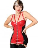 Glued Red and Black Latex Jill Corselette with Suspenders