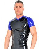Glued Latex Soccer Shirt - Black-Blue