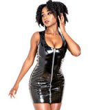 Black Gloss PVC Mini Dress with Front Zipper