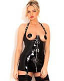 Black Gloss PVC Wonderland Cupless Corselette - up to Size 6XL
