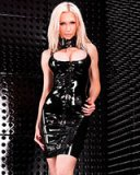 Black Latex Mini Dress with Buckles