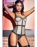 NUDE & NOIR Corset with Suspenders - up to 3/4XL