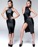 Powerwetlook Pencil Dress with Zippered Slit