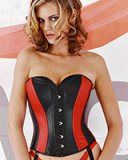 Black with Red Leather Corset with Suspenders - Size 2XL