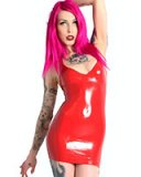 Glued Red Latex Mini Halter Dress