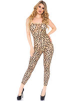 Nude Mesh with Leopard Print Catsuit