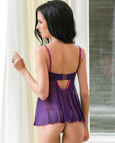 COLOR ME PRETTY Babydoll with G-String
