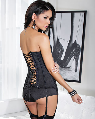 BLACK PASSION Corset with Front Zipper - up to 3/4XL