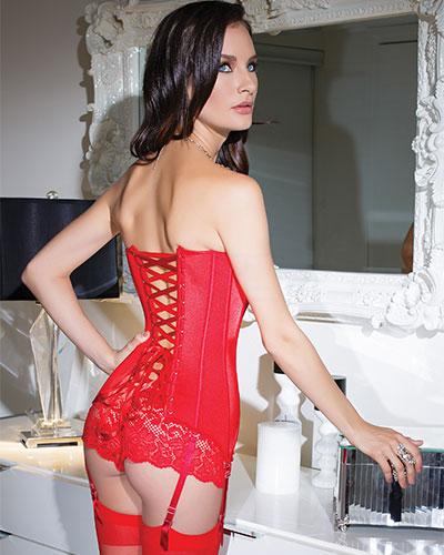 SULTRY RED Corset with Front Zipper - up to 3/4XL