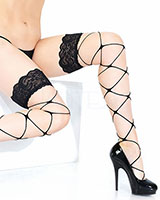 Stay-Up Stringy Net Stockings with Wide Lace Top
