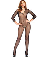 Fishnet Open Crotch Bodystocking with V Front