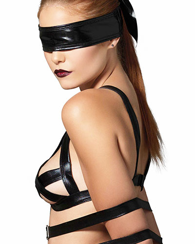 Wetlook Strappy Bondage Lingerie Set - 3 Pcs.