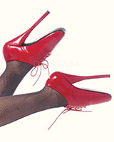 Lace Up Ballet Heels - Red Patent Leather