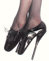 Lace Up Ballet Heels - Black Patent Leather