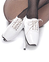 Lace Up Ballet Heels - White Patent Leather