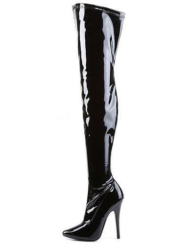 "Black Stretch Patent Leather Overknees - 6"" Heel"