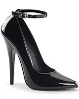 "Patent Leather Pumps with Ankle Strap - 6"" Heel"