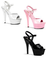 "Patent Leather Platform Sandals - 6"" Heel"