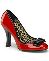 "Bi-Colour Patent Leather Pumps with Bow - 4"" Heel"