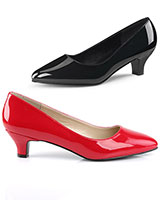"Wide Width Patent Leather Pumps - 2"" Heels - up to Size 46"