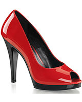 "Red Patent Leather Peep Toe Pumps - 4½"" Heel"