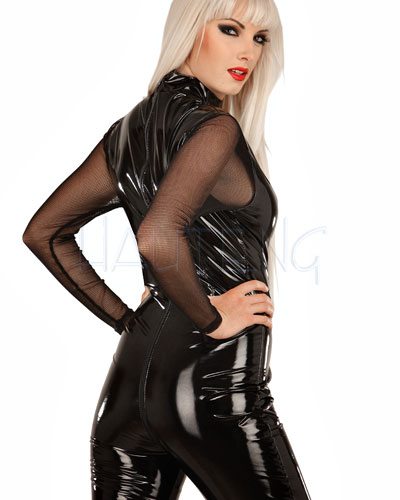 Gloss PVC Catsuit with Net