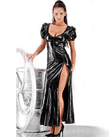 Long Gloss PVC Dress with Zipped Slit