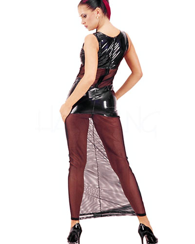 Long Gloss PVC Dress with Stretch Net