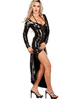 Long Gloss PVC Dress with 2-Way Zipper