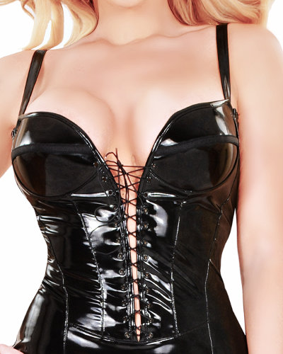 Gloss PVC Mini Dress with Front Lacing