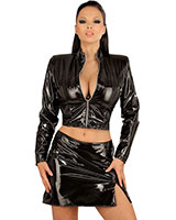 Gloss PVC Mini Skirt with Slit