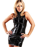 Three Zip Gloss PVC Justice Dress - up to Size 6XL