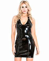 Black Gloss PVC Halter Dress