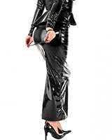 Contessa Long Gloss Black PVC Slit Skirt  - up to Size 6XL