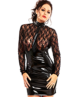 Black Gloss PVC Sexpress Lace Dress
