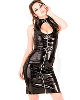 Gloss PVC Keyhole Dress with Front Zipper