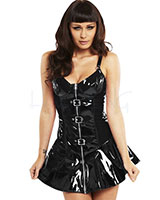 Gloss PVC Black Buckled Biker Dress
