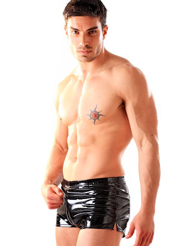 Black Gloss PVC Boxer Shorts With Front Zip