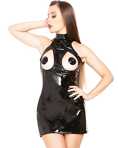 Black Gloss PVC Cut Out Dress