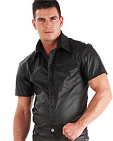 Men's Leatherette Short Sleeved Shirt