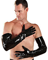 Black Gloss PVC Shoulder Length Gloves