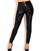 Black Gloss PVC Zip Through Jeans