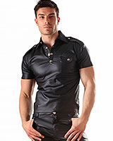 Leatherette Shirt im Military Stil