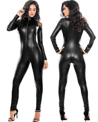 Miss Whiplash Catsuit aus schwarzem Second Skin-Lack