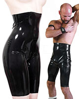 High Waisted Unisex Latex Bermudas - with open Crotch